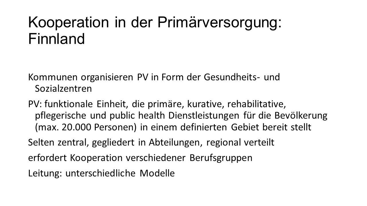 Kooperation in der Primärversorgung: Finnland Kommunen organisieren PV in Form der Gesundheits- und Sozialzentren PV: funktionale Einheit, die primäre, kurative, rehabilitative, pflegerische und public health Dienstleistungen für die Bevölkerung (max.