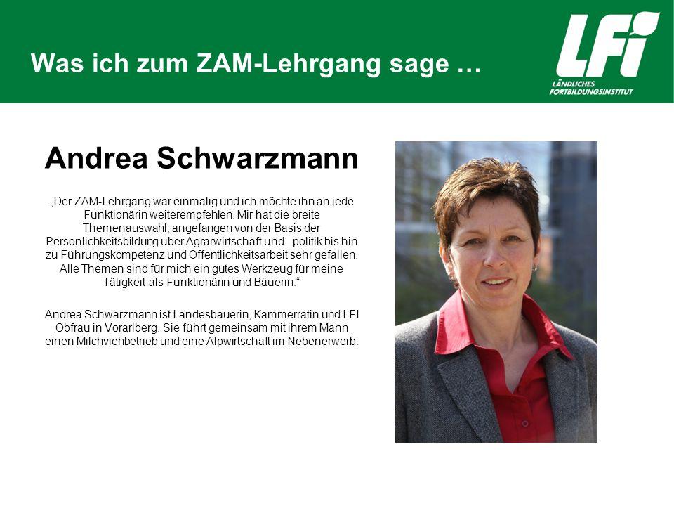 """Was ich zum ZAM-Lehrgang sage … Andrea Schwarzmann """"Der ZAM-Lehrgang war einmalig und ich möchte ihn an jede Funktionärin weiterempfehlen."""