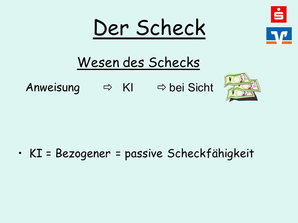 Der Scheck KI = Bezogener = passive Scheckfähigkeit Anweisung  KI  bei Sicht Wesen des Schecks