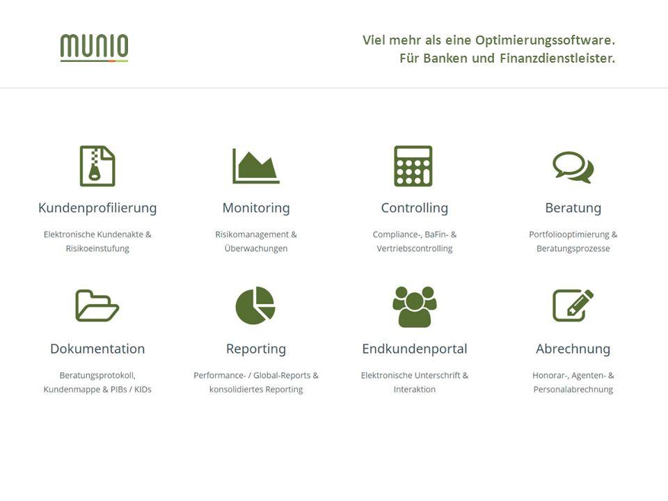 Viel mehr als eine Optimierungssoftware. Für Banken und Finanzdienstleister.