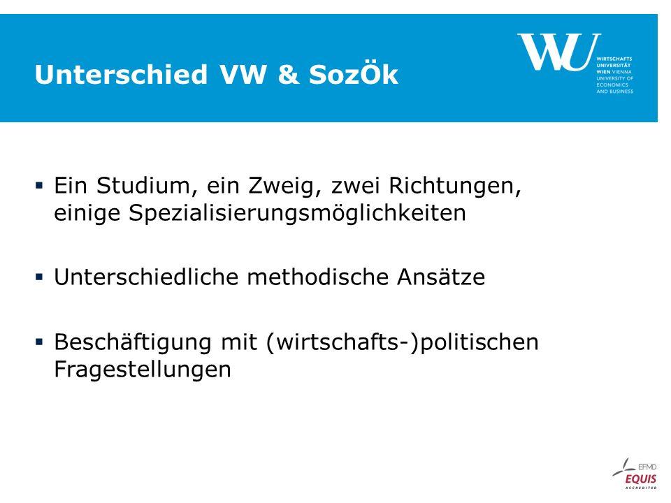 Unterschied VW & SozÖk  Ein Studium, ein Zweig, zwei Richtungen, einige Spezialisierungsmöglichkeiten  Unterschiedliche methodische Ansätze  Beschäftigung mit (wirtschafts-)politischen Fragestellungen