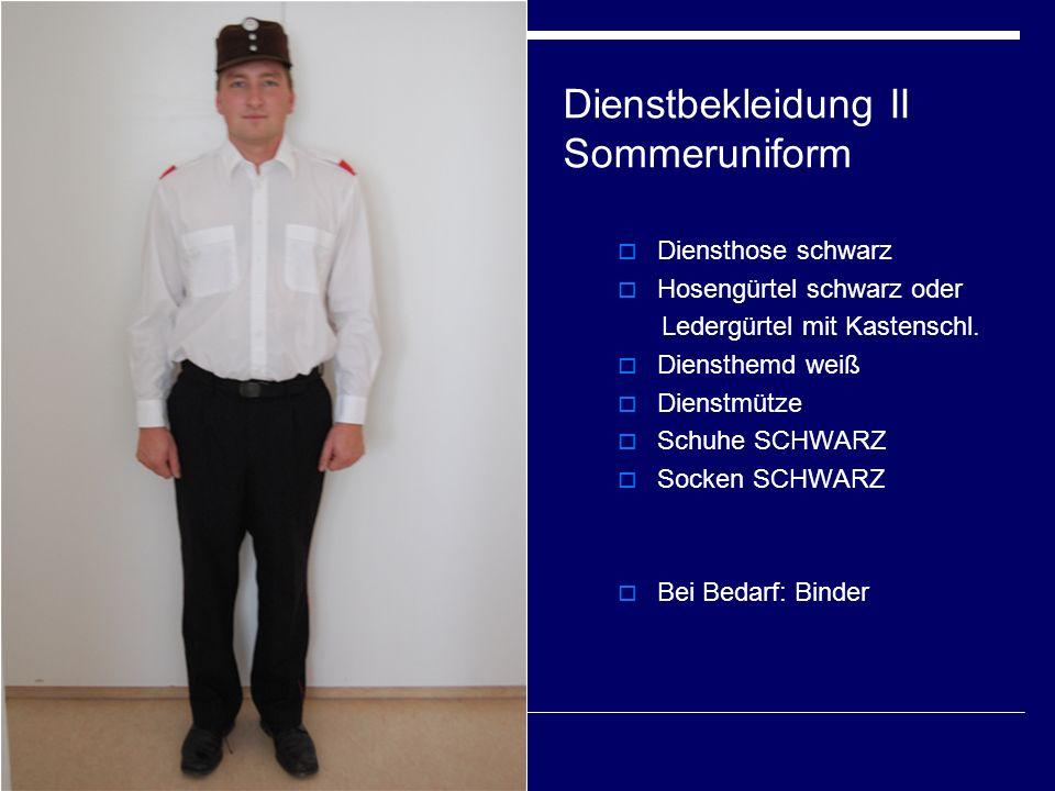 Dienstbekleidung II Sommeruniform  Diensthose schwarz  Hosengürtel schwarz oder Ledergürtel mit Kastenschl.  Diensthemd weiß  Dienstmütze  Schuhe