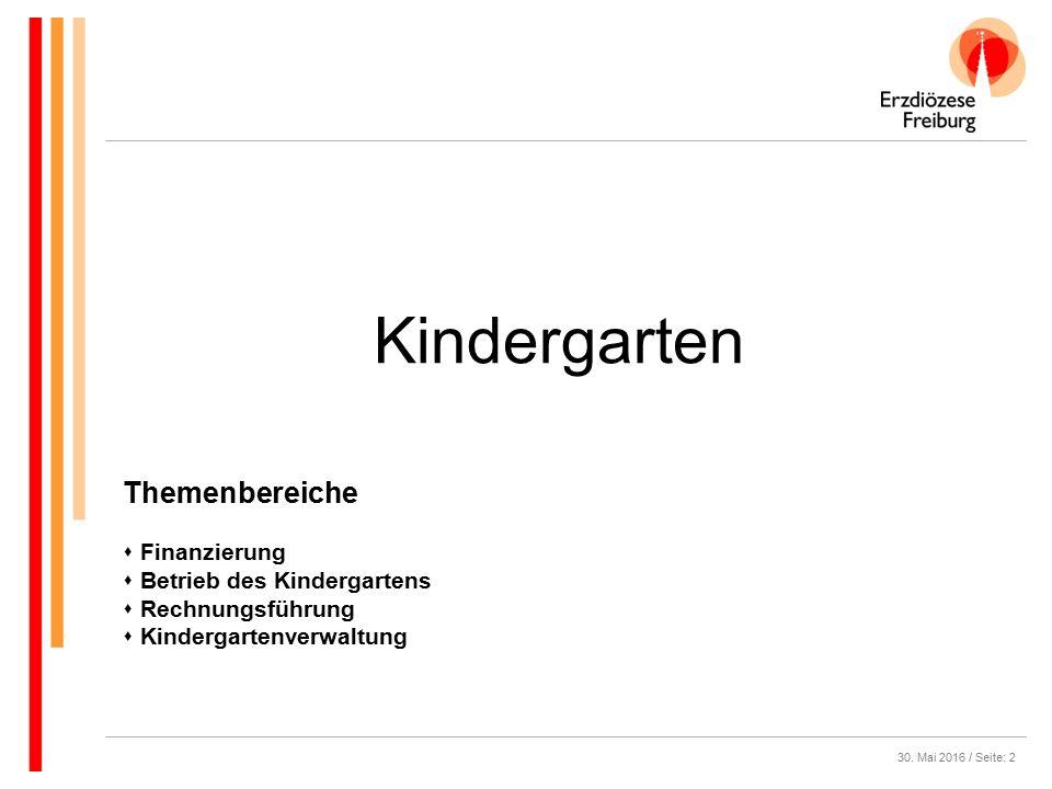 30. Mai 2016 / Seite: 2 Kindergarten Themenbereiche  Finanzierung  Betrieb des Kindergartens  Rechnungsführung  Kindergartenverwaltung