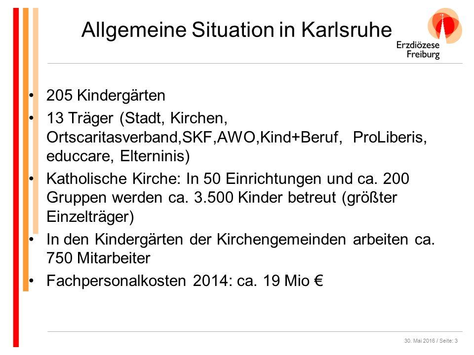 Allgemeine Situation in Karlsruhe 205 Kindergärten 13 Träger (Stadt, Kirchen, Ortscaritasverband,SKF,AWO,Kind+Beruf, ProLiberis, educcare, Elterninis) Katholische Kirche: In 50 Einrichtungen und ca.