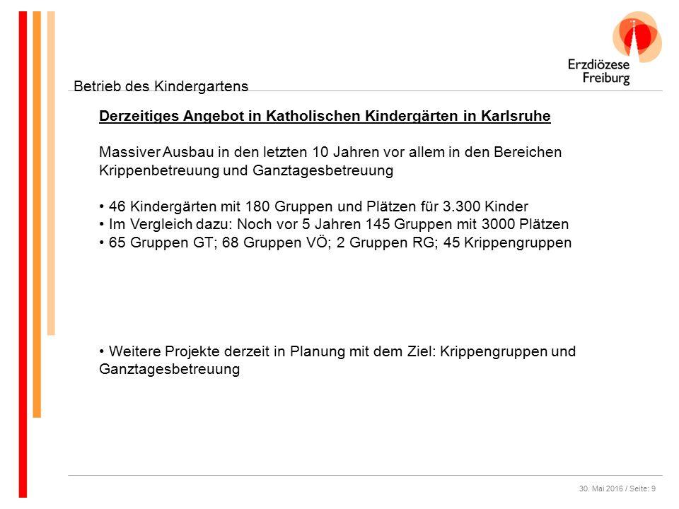 30. Mai 2016 / Seite: 9 Betrieb des Kindergartens Derzeitiges Angebot in Katholischen Kindergärten in Karlsruhe Massiver Ausbau in den letzten 10 Jahr