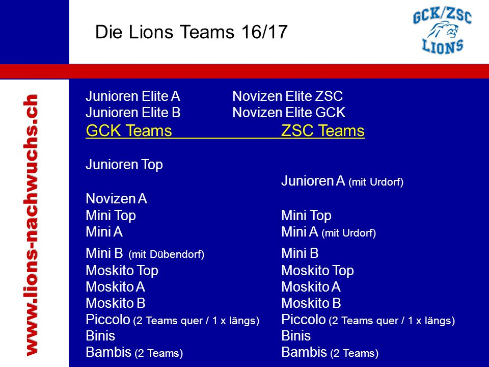 Traktanden Die Lions Teams 16/17 Junioren Elite ANovizen Elite ZSC Junioren Elite BNovizen Elite GCK GCK TeamsZSC Teams Junioren Top Junioren A (mit Urdorf) Novizen A Mini TopMini Top Mini AMini A (mit Urdorf) Mini B (mit Dübendorf) Mini BMoskito TopMoskito AMoskito B Piccolo (2 Teams quer / 1 x längs) Binis Bambis (2 Teams)