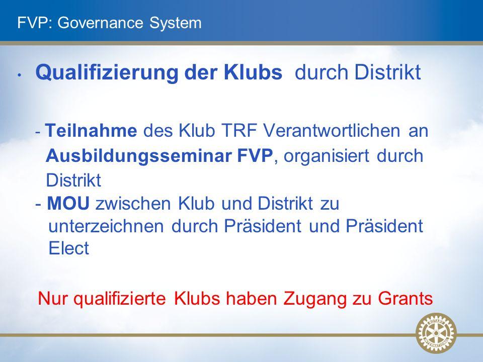 FVP: Governance System Qualifizierung der Klubs durch Distrikt - Teilnahme des Klub TRF Verantwortlichen an Ausbildungsseminar FVP, organisiert durch Distrikt - MOU zwischen Klub und Distrikt zu unterzeichnen durch Präsident und Präsident Elect Nur qualifizierte Klubs haben Zugang zu Grants