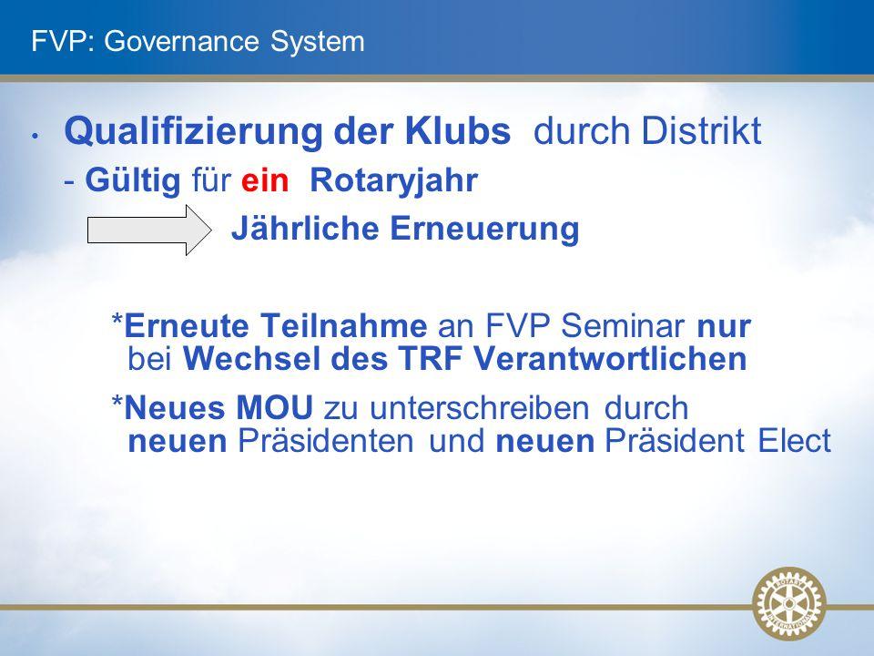 FVP: Governance System Qualifizierung der Klubs durch Distrikt - Gültig für ein Rotaryjahr Jährliche Erneuerung *Erneute Teilnahme an FVP Seminar nur bei Wechsel des TRF Verantwortlichen *Neues MOU zu unterschreiben durch neuen Präsidenten und neuen Präsident Elect