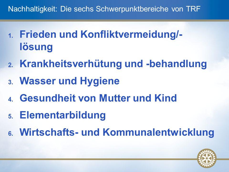 Nachhaltigkeit: Die sechs Schwerpunktbereiche von TRF 1.