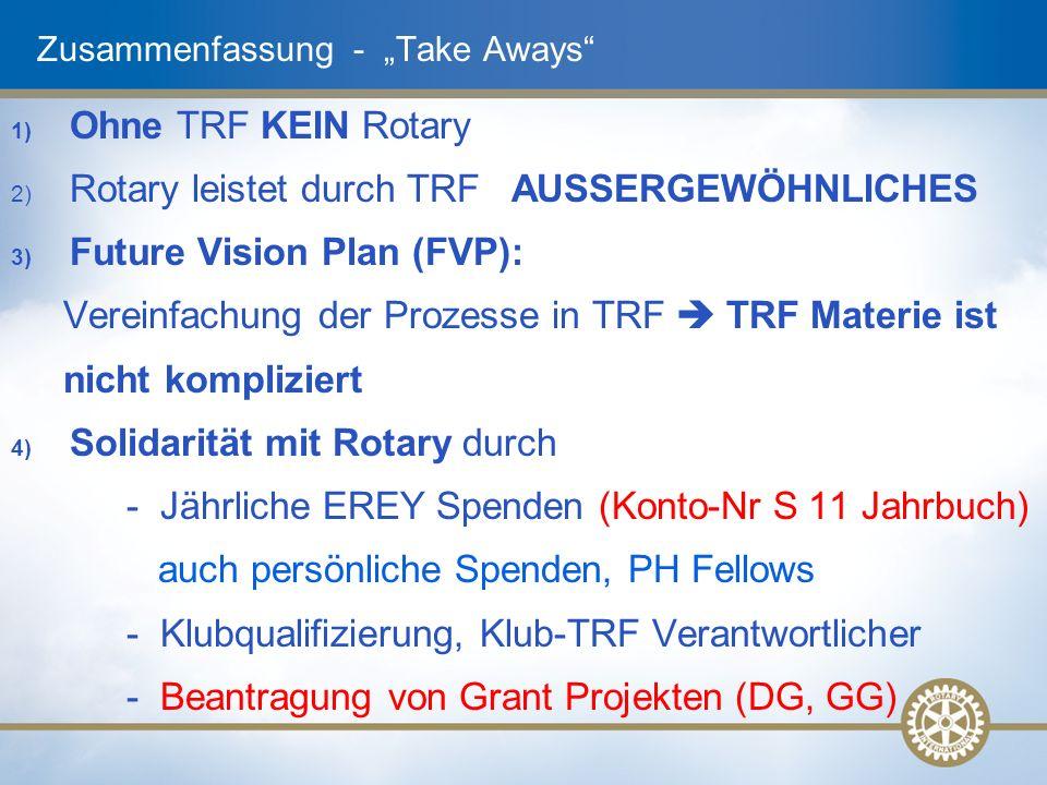 """Zusammenfassung - """"Take Aways 1) Ohne TRF KEIN Rotary 2) Rotary leistet durch TRF AUSSERGEWÖHNLICHES 3) Future Vision Plan (FVP): Vereinfachung der Prozesse in TRF  TRF Materie ist nicht kompliziert 4) Solidarität mit Rotary durch - Jährliche EREY Spenden (Konto-Nr S 11 Jahrbuch) auch persönliche Spenden, PH Fellows - Klubqualifizierung, Klub-TRF Verantwortlicher - Beantragung von Grant Projekten (DG, GG)"""