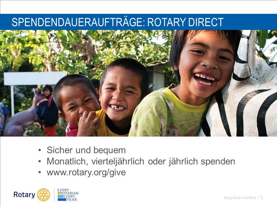 Doing Good in the World | 13 SPENDENDAUERAUFTRÄGE: ROTARY DIRECT Sicher und bequem Monatlich, vierteljährlich oder jährlich spenden www.rotary.org/give
