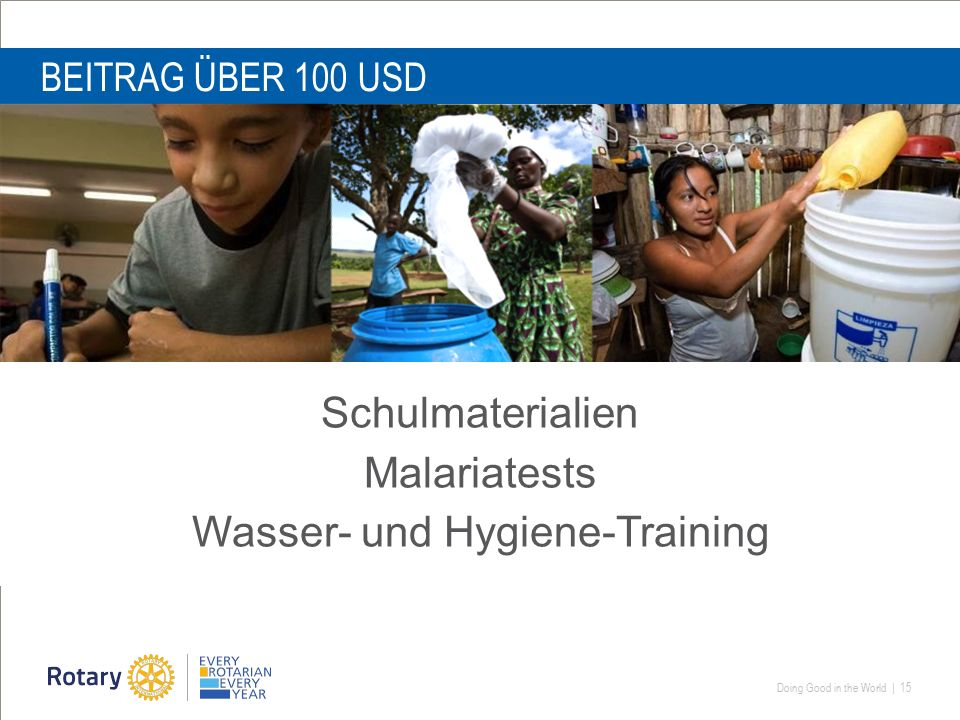 Doing Good in the World | 15 BEITRAG ÜBER 100 USD Schulmaterialien Malariatests Wasser- und Hygiene-Training