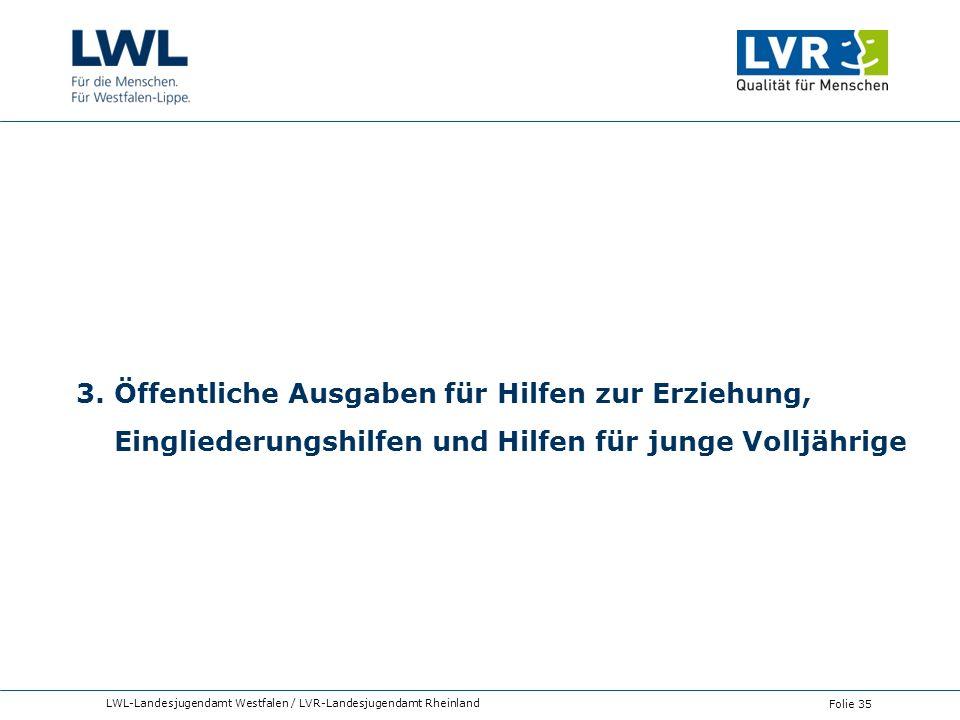 3. Öffentliche Ausgaben für Hilfen zur Erziehung, Eingliederungshilfen und Hilfen für junge Volljährige LWL-Landesjugendamt Westfalen / LVR-Landesjuge