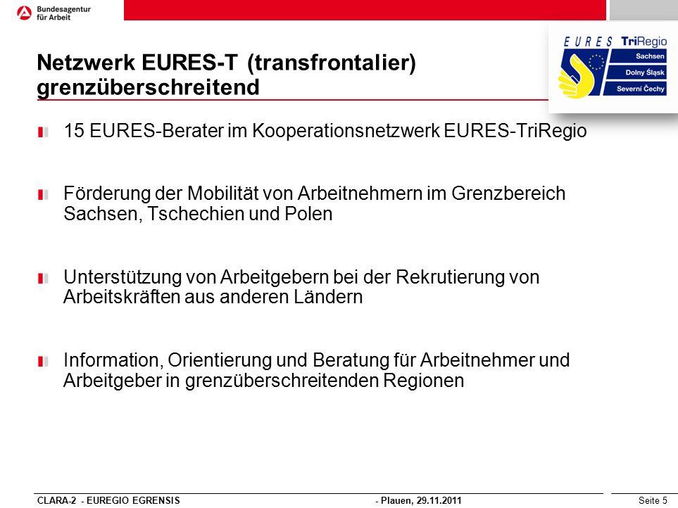 Seite 5 15 EURES-Berater im Kooperationsnetzwerk EURES-TriRegio Förderung der Mobilität von Arbeitnehmern im Grenzbereich Sachsen, Tschechien und Pole