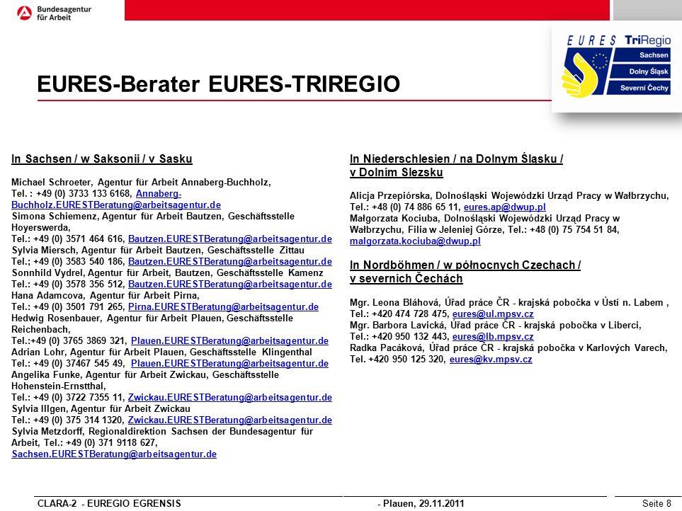Seite 8 EURES-Berater EURES-TRIREGIO In Sachsen / w Saksonii / v Sasku Michael Schroeter, Agentur für Arbeit Annaberg-Buchholz, Tel.