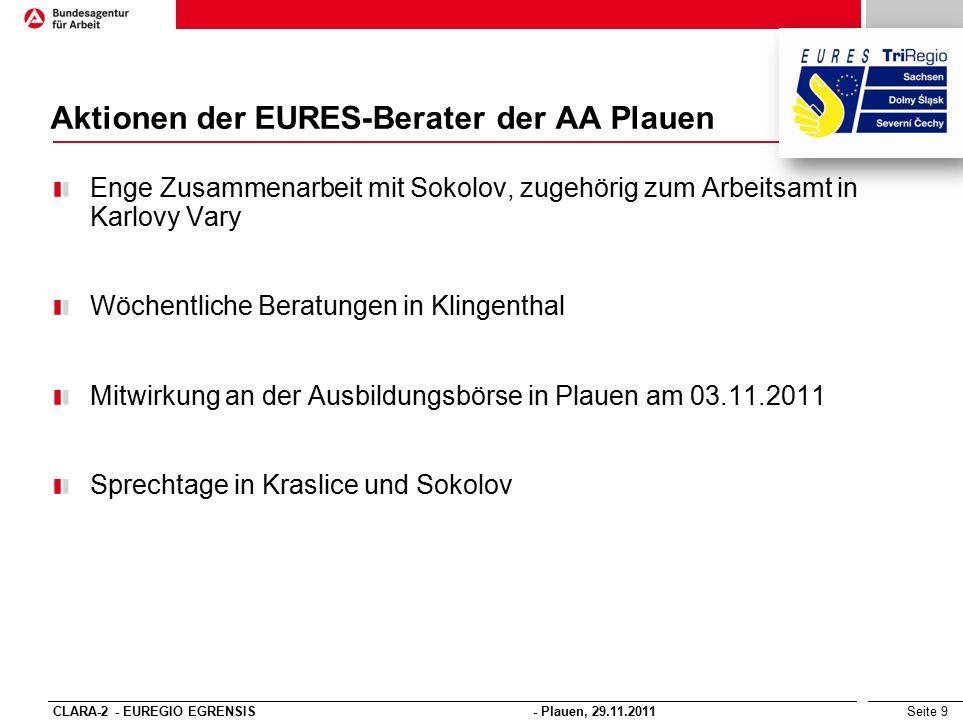 Seite 9 Aktionen der EURES-Berater der AA Plauen Enge Zusammenarbeit mit Sokolov, zugehörig zum Arbeitsamt in Karlovy Vary Wöchentliche Beratungen in