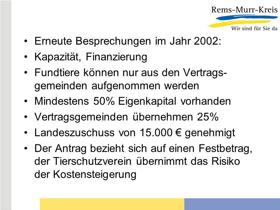 Erneute Besprechungen im Jahr 2002: Kapazität, Finanzierung Fundtiere können nur aus den Vertrags- gemeinden aufgenommen werden Mindestens 50% Eigenkapital vorhanden Vertragsgemeinden übernehmen 25% Landeszuschuss von 15.000 € genehmigt Der Antrag bezieht sich auf einen Festbetrag, der Tierschutzverein übernimmt das Risiko der Kostensteigerung