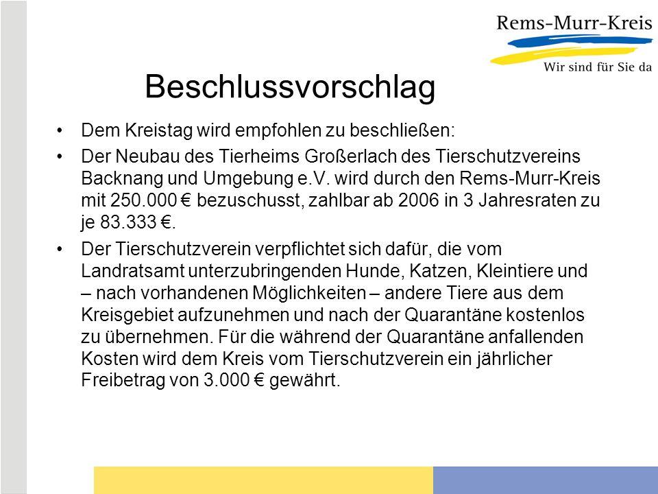 Beschlussvorschlag Dem Kreistag wird empfohlen zu beschließen: Der Neubau des Tierheims Großerlach des Tierschutzvereins Backnang und Umgebung e.V.