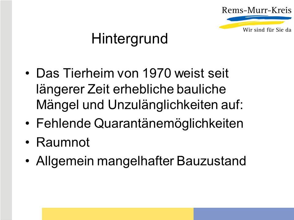 Hintergrund Das Tierheim von 1970 weist seit längerer Zeit erhebliche bauliche Mängel und Unzulänglichkeiten auf: Fehlende Quarantänemöglichkeiten Rau