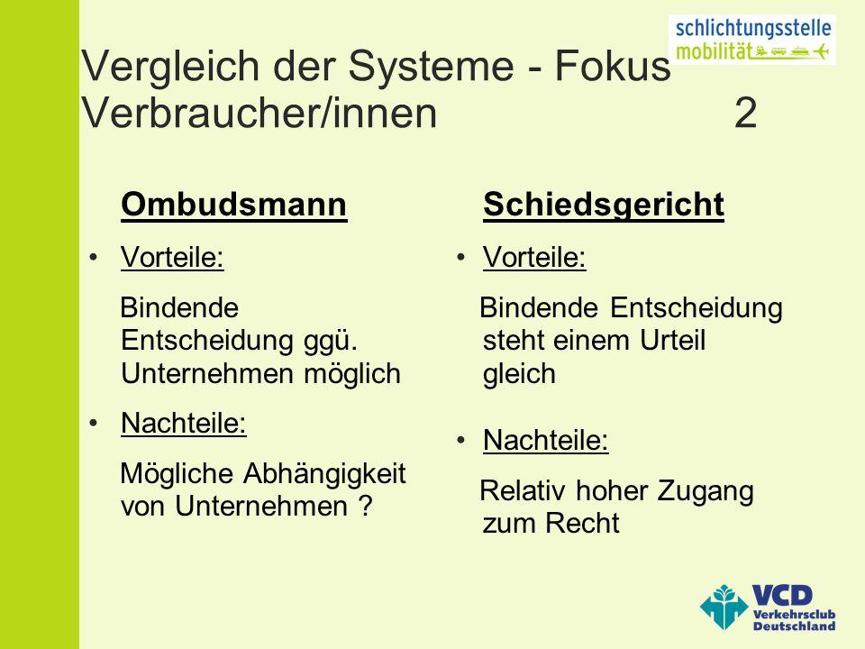 Vergleich der Systeme - Fokus Verbraucher/innen 2 Ombudsmann Vorteile: Bindende Entscheidung ggü.