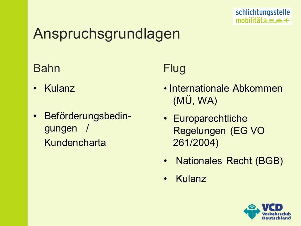 Anspruchsgrundlagen Bahn Flug Kulanz Beförderungsbedin- gungen / Kundencharta Internationale Abkommen (MÜ, WA) Europarechtliche Regelungen (EG VO 261/2004) Nationales Recht (BGB) Kulanz