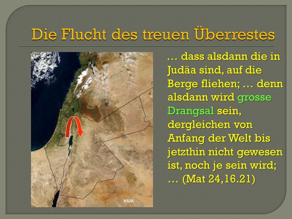… dass alsdann die in Judäa sind, auf die Berge fliehen; … denn alsdann wird grosse Drangsal sein, dergleichen von Anfang der Welt bis jetzthin nicht