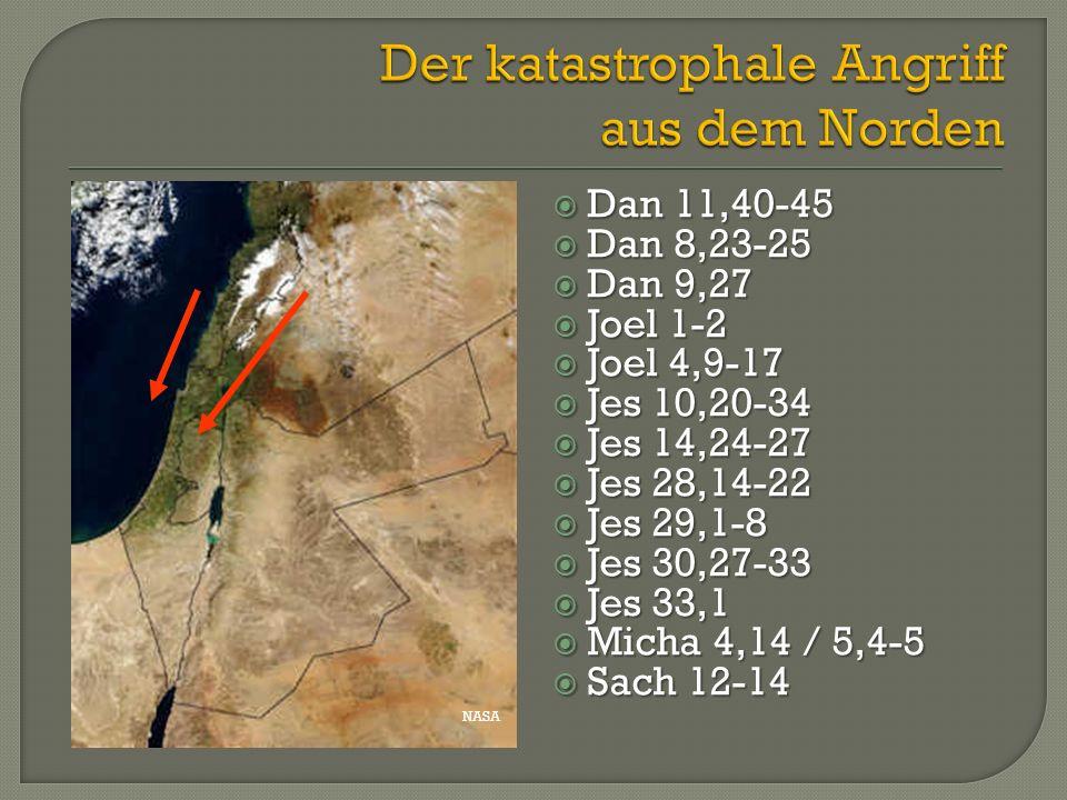 NASA  Dan 11,40-45  Dan 8,23-25  Dan 9,27  Joel 1-2  Joel 4,9-17  Jes 10,20-34  Jes 14,24-27  Jes 28,14-22  Jes 29,1-8  Jes 30,27-33  Jes 3