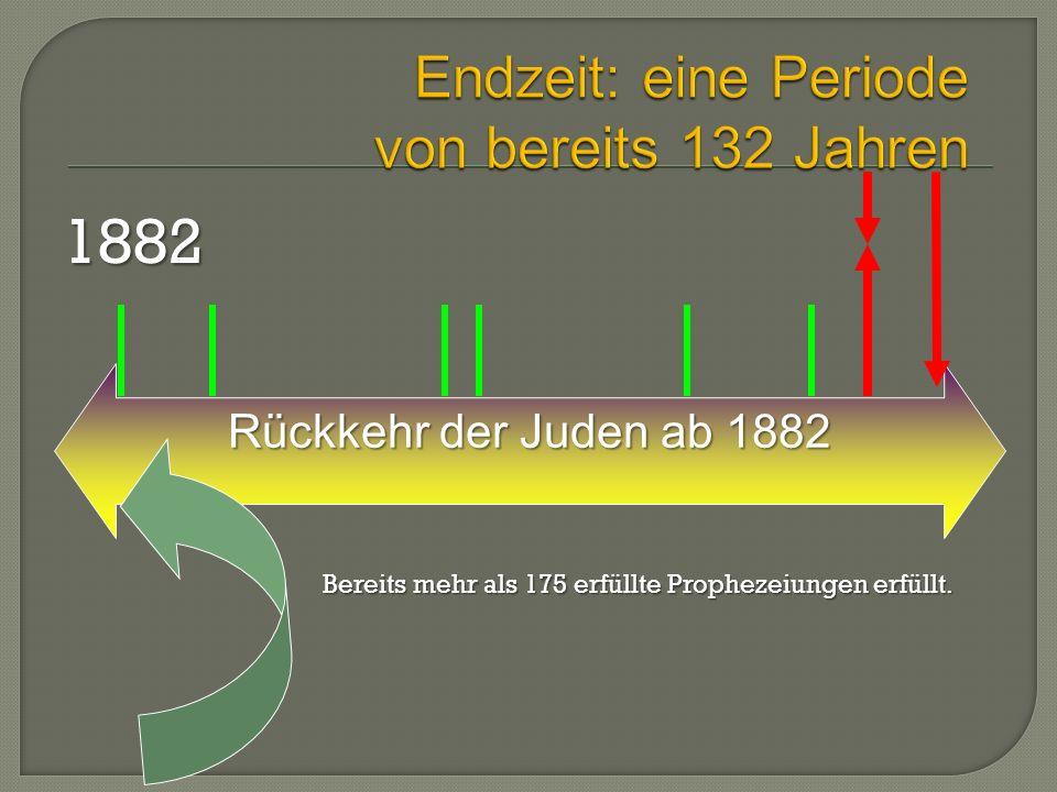 Rückkehr der Juden ab 1882 Rückkehr der Juden ab 18821882 Bereits mehr als 175 erfüllte Prophezeiungen erfüllt.