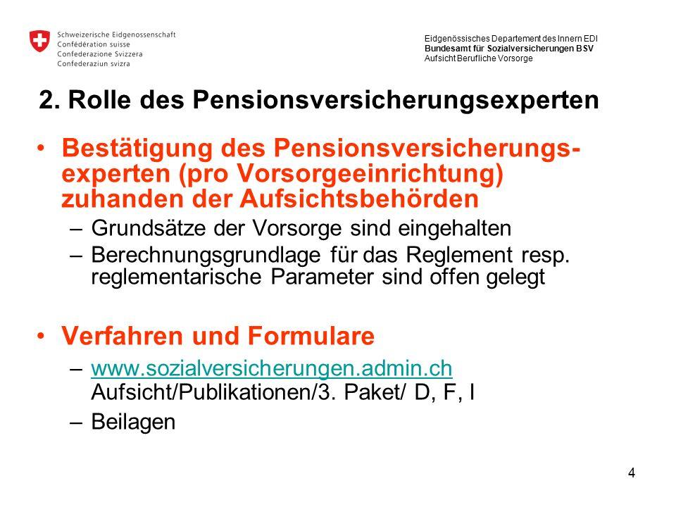4 Bestätigung des Pensionsversicherungs- experten (pro Vorsorgeeinrichtung) zuhanden der Aufsichtsbehörden –Grundsätze der Vorsorge sind eingehalten –Berechnungsgrundlage für das Reglement resp.