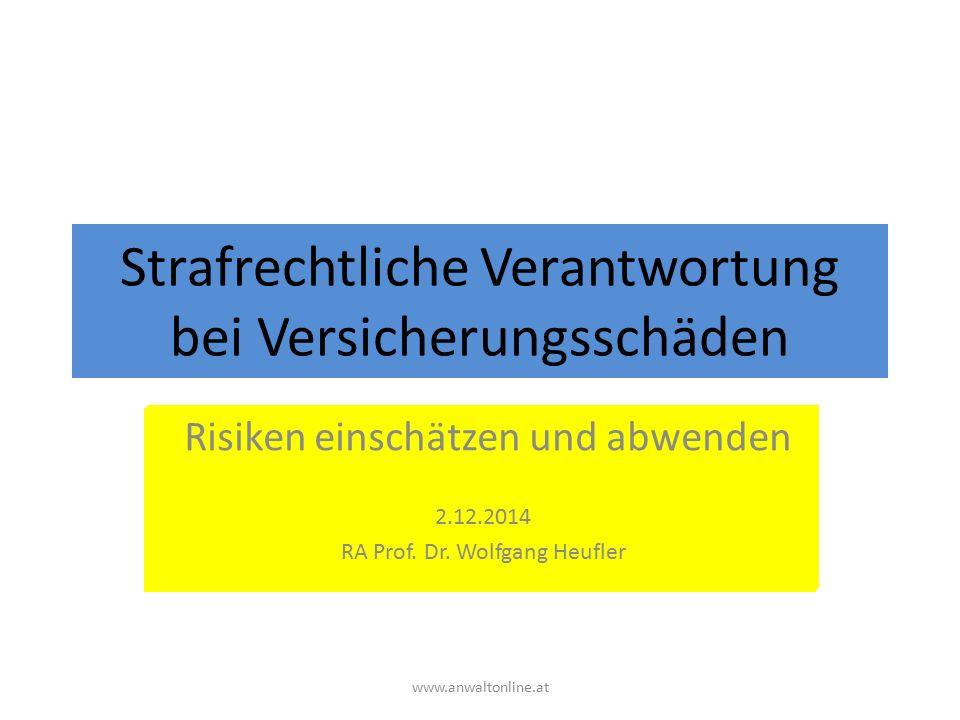 Strafrechtliche Verantwortung bei Versicherungsschäden Risiken einschätzen und abwenden www.anwaltonline.at Risiken einschätzen und abwenden 2.12.2014 RA Prof.