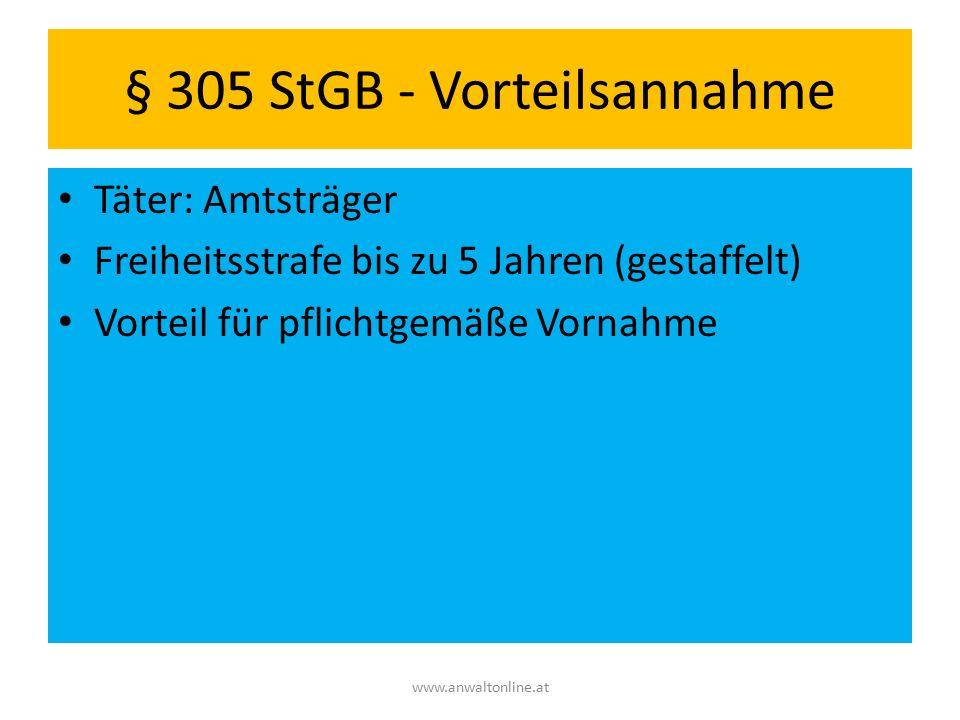 § 305 StGB - Vorteilsannahme Täter: Amtsträger Freiheitsstrafe bis zu 5 Jahren (gestaffelt) Vorteil für pflichtgemäße Vornahme www.anwaltonline.at