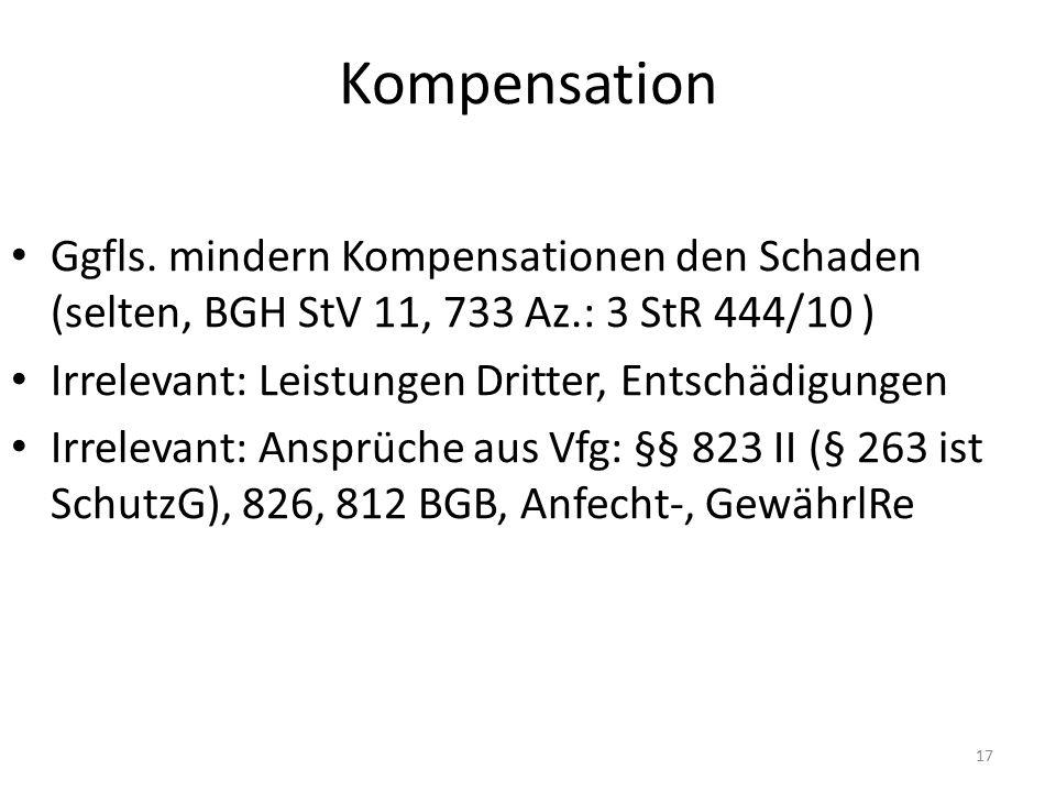 Kompensation Ggfls. mindern Kompensationen den Schaden (selten, BGH StV 11, 733 Az.: 3 StR 444/10 ) Irrelevant: Leistungen Dritter, Entschädigungen Ir