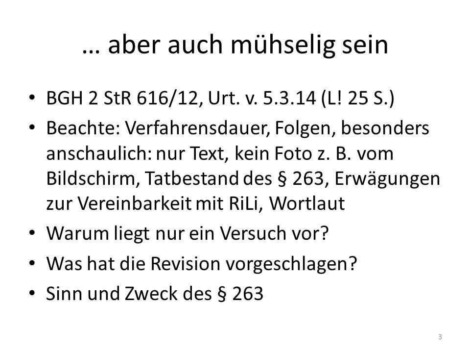 … aber auch mühselig sein BGH 2 StR 616/12, Urt. v. 5.3.14 (L! 25 S.) Beachte: Verfahrensdauer, Folgen, besonders anschaulich: nur Text, kein Foto z.