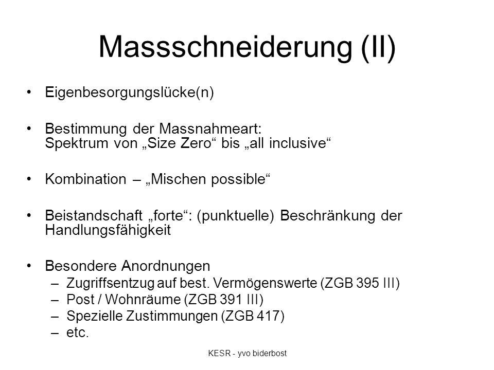"""Massschneiderung (II) Eigenbesorgungslücke(n) Bestimmung der Massnahmeart: Spektrum von """"Size Zero"""" bis """"all inclusive"""" Kombination – """"Mischen possibl"""