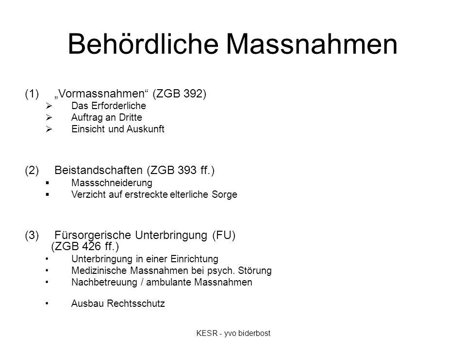 """Voraussetzungen Schwächezustand (ZGB 390): –geistige Behinderung, psychische Störung oder ähnlicher in der Person des Betroffenen liegender Schwächezustand –bei FU: + schwere Verwahrlosung –vorübergehende Urteilsunfähigkeit oder Abwesenheit Schutzbedürfnis –Angelegenheiten nur teilweise oder gar nicht besorgen (ZGB 390 I 1) –Subsidiarität / Alternativen (ZGB 389 / 392) Verhältnismässigkeit """"Berücksichtigung Belastung und Schutz Dritter (ZGB 390 II) Antrag / Anzeige ."""