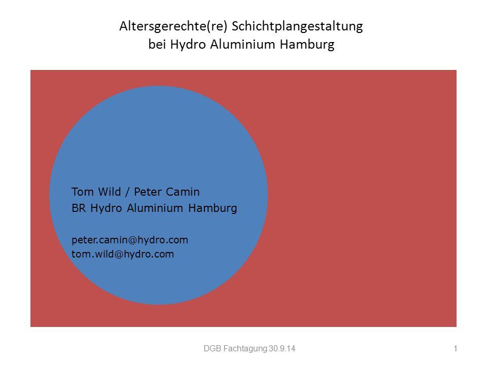 Altersgerechte(re) Schichtplangestaltung bei Hydro Aluminium Hamburg Tom Wild / Peter Camin BR Hydro Aluminium Hamburg peter.camin@hydro.com tom.wild@hydro.com DGB Fachtagung 30.9.141