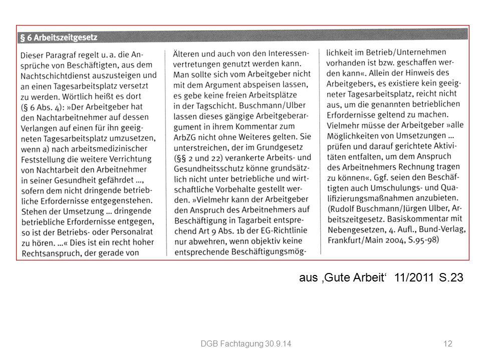 aus 'Gute Arbeit' 11/2011 S.23 DGB Fachtagung 30.9.1412