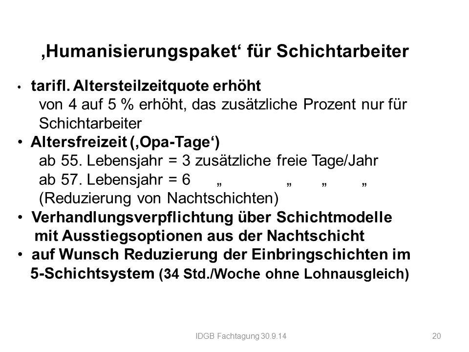'Humanisierungspaket' für Schichtarbeiter tarifl.
