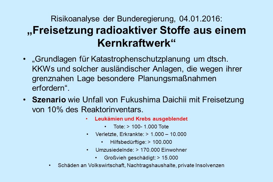"""Risikoanalyse der Bunderegierung, 04.01.2016: """"Freisetzung radioaktiver Stoffe aus einem Kernkraftwerk"""" """"Grundlagen für Katastrophenschutzplanung um d"""