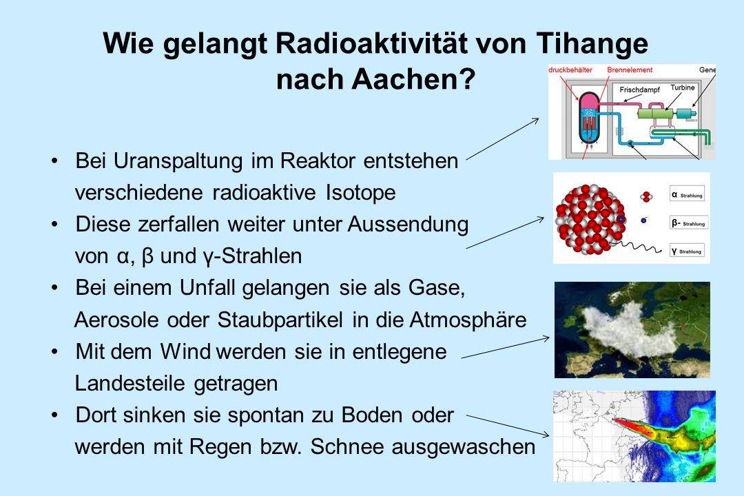 Wie gelangt Radioaktivität von Tihange nach Aachen? Bei Uranspaltung im Reaktor entstehen verschiedene radioaktive Isotope Diese zerfallen weiter unte