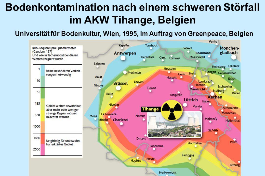 Bodenkontamination nach einem schweren Störfall im AKW Tihange, Belgien Universität für Bodenkultur, Wien, 1995, im Auftrag von Greenpeace, Belgien