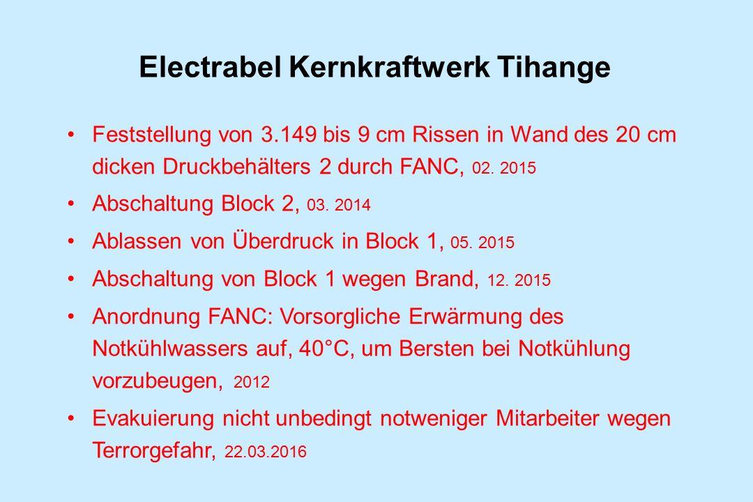 Electrabel Kernkraftwerk Tihange Feststellung von 3.149 bis 9 cm Rissen in Wand des 20 cm dicken Druckbehälters 2 durch FANC, 02. 2015 Abschaltung Blo