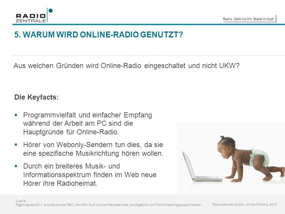 Radio. Geht ins Ohr. Bleibt im Kopf. 5. WARUM WIRD ONLINE-RADIO GENUTZT.