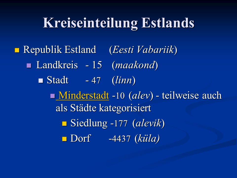 Kreiseinteilung Estlands Republik Estland (Eesti Vabariik) Republik Estland (Eesti Vabariik) Landkreis- 15 (maakond) Landkreis- 15 (maakond) Stadt- 47 (linn) Stadt- 47 (linn) Minderstadt - 10 (alev) - teilweise auch als Städte kategorisiert Minderstadt - 10 (alev) - teilweise auch als Städte kategorisiert Minderstadt Minderstadt Siedlung - 177 (alevik) Siedlung - 177 (alevik) Dorf - 4437 (küla) Dorf - 4437 (küla)
