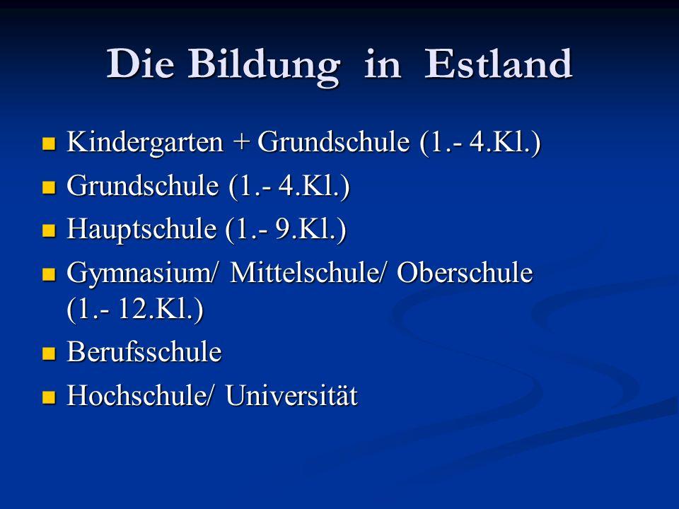 Die Bildung in Estland Kindergarten + Grundschule (1.- 4.Kl.) Kindergarten + Grundschule (1.- 4.Kl.) Grundschule (1.- 4.Kl.) Grundschule (1.- 4.Kl.) Hauptschule (1.- 9.Kl.) Hauptschule (1.- 9.Kl.) Gymnasium/ Mittelschule/ Oberschule (1.- 12.Kl.) Gymnasium/ Mittelschule/ Oberschule (1.- 12.Kl.) Berufsschule Berufsschule Hochschule/ Universität Hochschule/ Universität