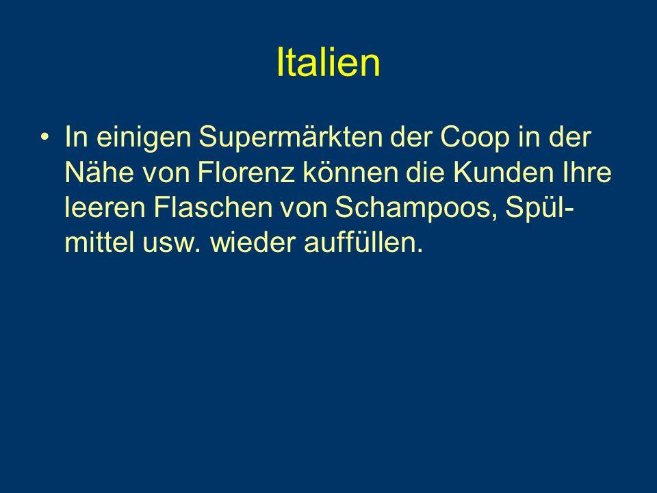 Italien In einigen Supermärkten der Coop in der Nähe von Florenz können die Kunden Ihre leeren Flaschen von Schampoos, Spül- mittel usw.