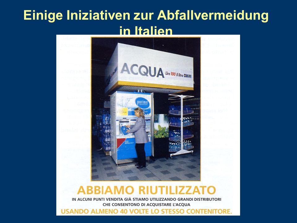 Einige Iniziativen zur Abfallvermeidung in Italien