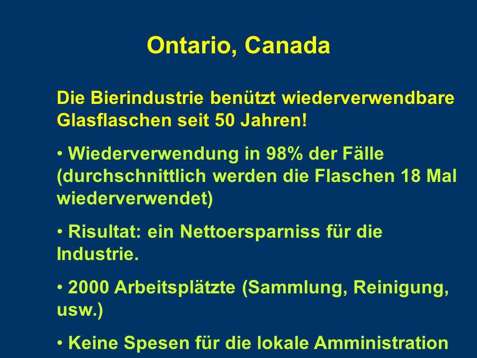 Ontario, Canada Die Bierindustrie benützt wiederverwendbare Glasflaschen seit 50 Jahren.