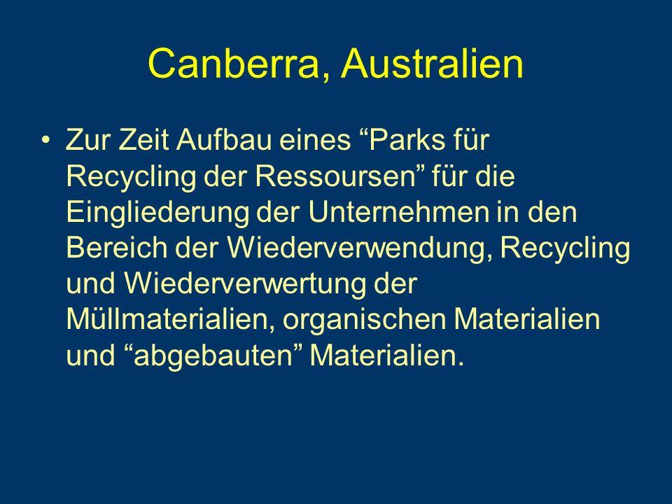 Canberra, Australien Zur Zeit Aufbau eines Parks für Recycling der Ressoursen für die Eingliederung der Unternehmen in den Bereich der Wiederverwendung, Recycling und Wiederverwertung der Müllmaterialien, organischen Materialien und abgebauten Materialien.