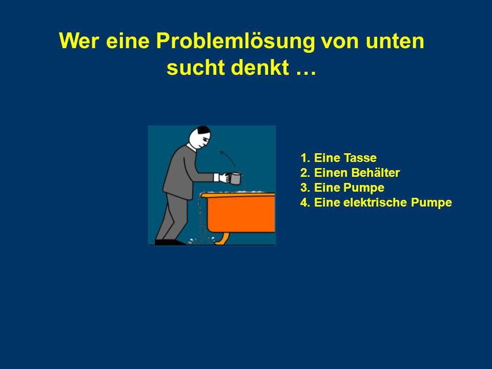 Wer eine Problemlösung von unten sucht denkt … 1. Eine Tasse 2.